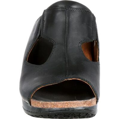 4EurSole Joyful Women's Black Leather Slide, , large