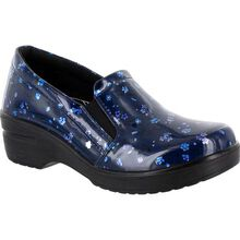 Easy WORKS by Easy Street Leeza Navy Floral Women's Slip-Resistant Patent Slip-on Work Shoe