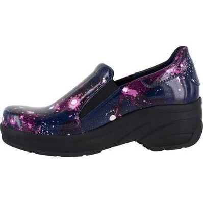 Easy WORKS by Easy Street Appreciate Purple Celestial Women's Slip-Resistant Patent Slip-on Shoe, , large