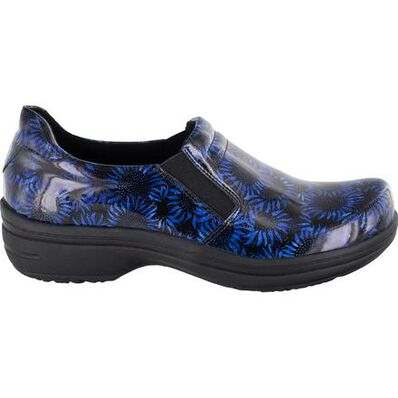 Easy WORKS by Easy Street Bind Women's Navy Midnight Sunflowers Patent Leather Slip-Resistant Clog, , large