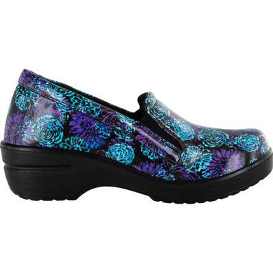 Easy WORKS by Easy Street Leeza Batik Women's Slip-Resistant Patent Slip-On Shoe, , large