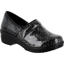 Easy WORKS by Easy Street Lyndee Black Raindrops Women's Slip-Resistant Patent Slip-On Work Shoe