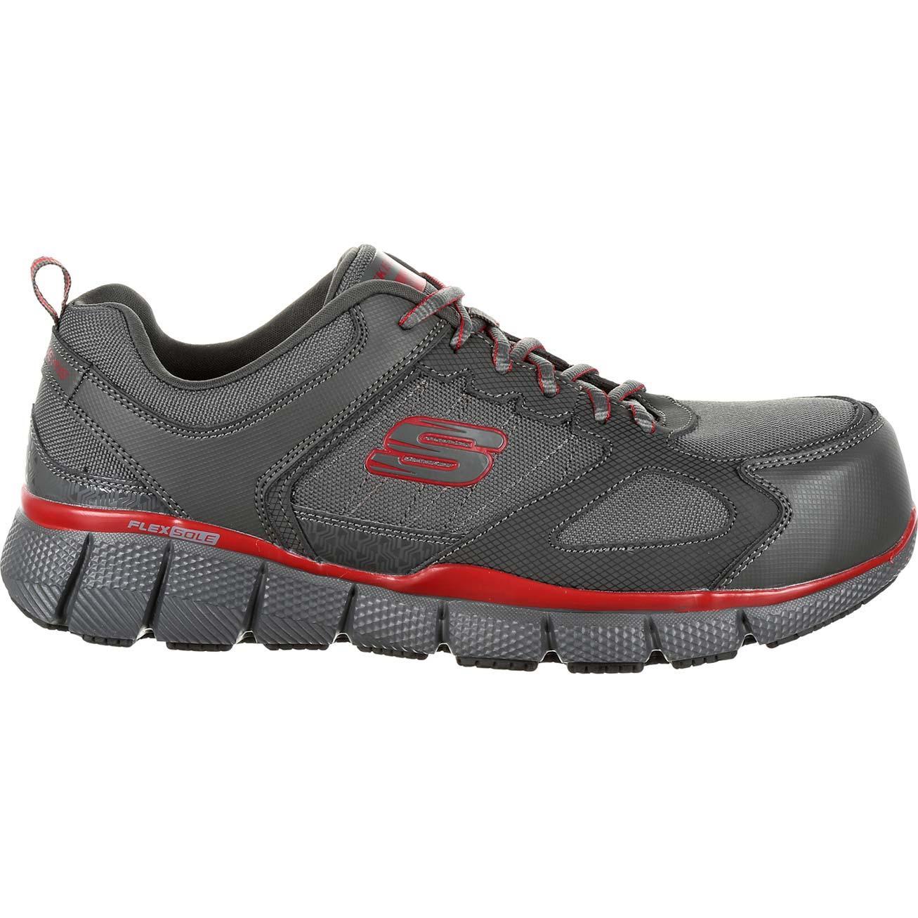 Skechers Black Shoes Work Men Memory Foam Slip Resistant Comp Toe EH Safe 77132