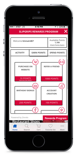 Rewards program on phone